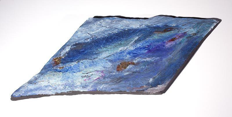 Voyage inachevé, 22cm x 55cm, pierre, feuille d'or, 2007
